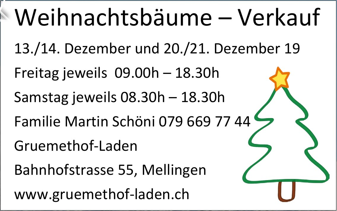 Gruemethof-Laden - Weihnachtsbäume - Verkauf 13./14. und 20./21. Dezember
