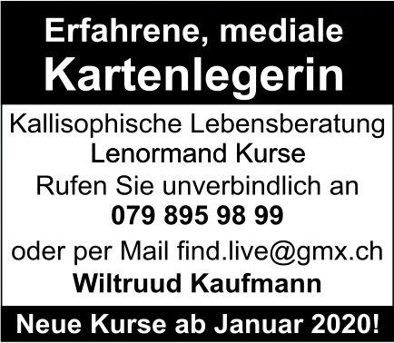 Wiltruud Kaufmann: Erfahrene, mediale Kartenlegerin - Neue Kurse ab Januar 2020!