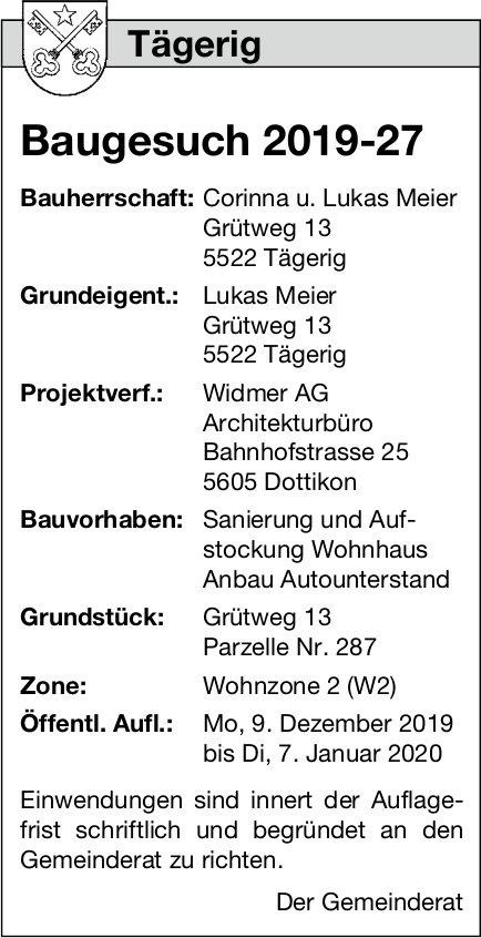 Tägerig - Baugesuch 2019-27