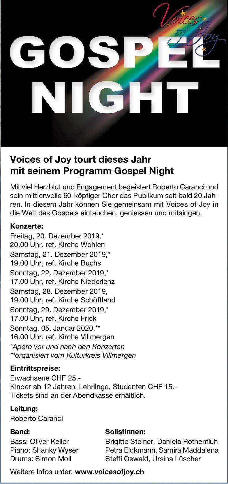 Voices of Joy: Gospel Night - Konzerte Datum