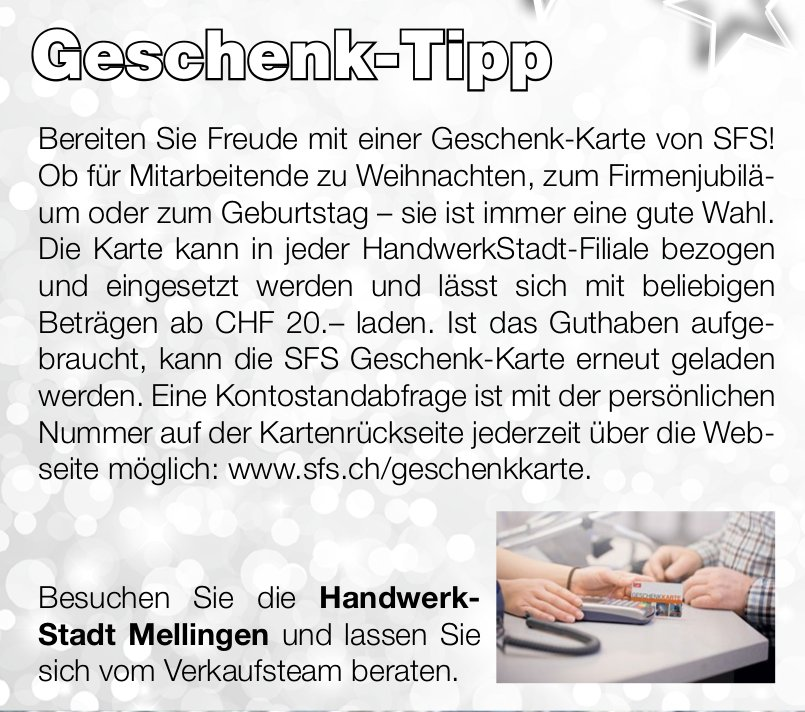 Geschenk-Tipp: Besuchen Sie die Handwerk- Stadt Mellingen & lassen Sie sich vom Verkaufsteam beraten