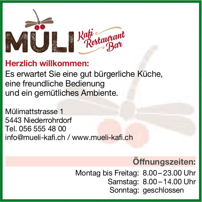 Müli Kafi Restaurant Bar - Herzlich willkommen