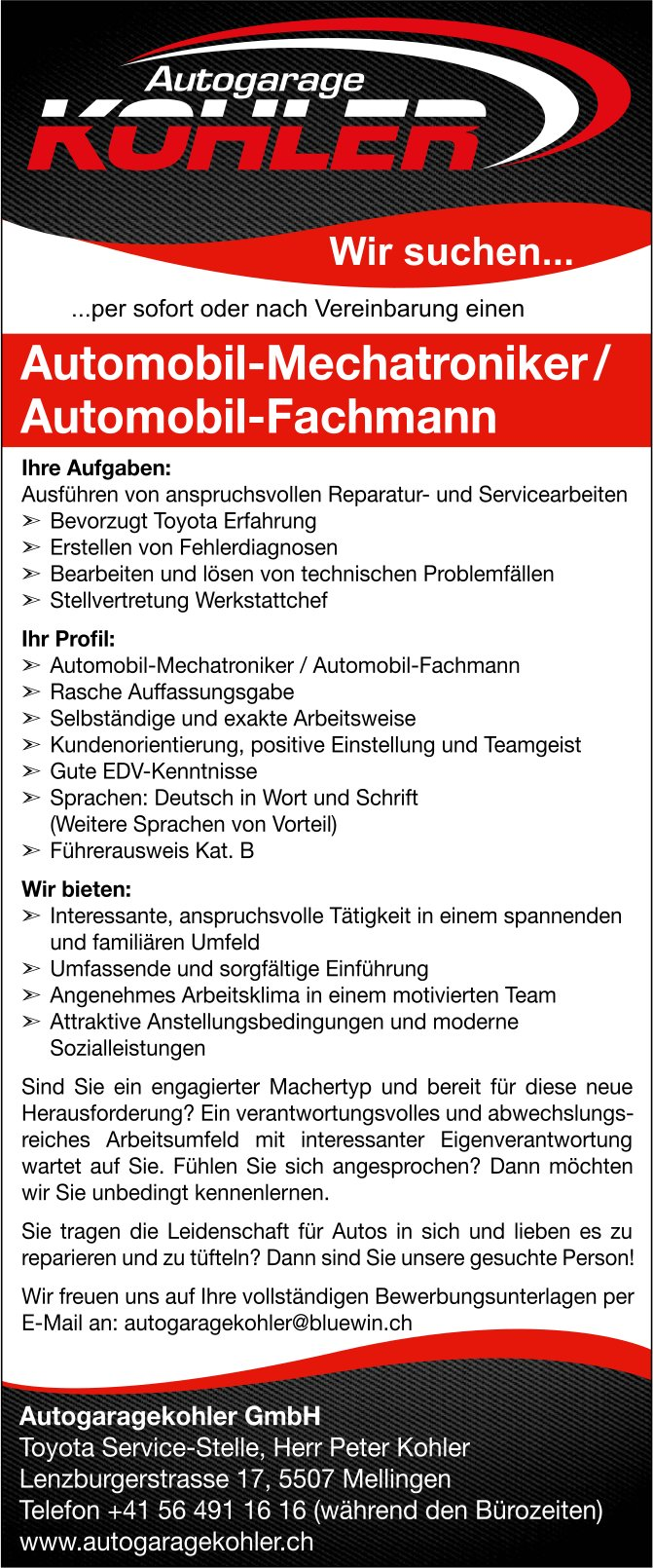 Automobil-Mechatroniker / Automobil-Fachmann bei Autogaragekohler GmbH gesucht