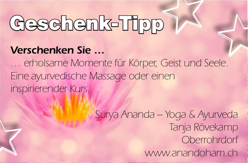 Surya Ananda – Yoga & Ayurveda - Geschenk-Tipp