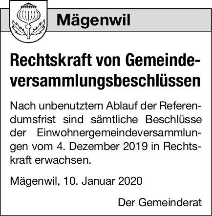 Mägenwil - Rechtskraft von Gemeindeversammlungsbeschlüssen