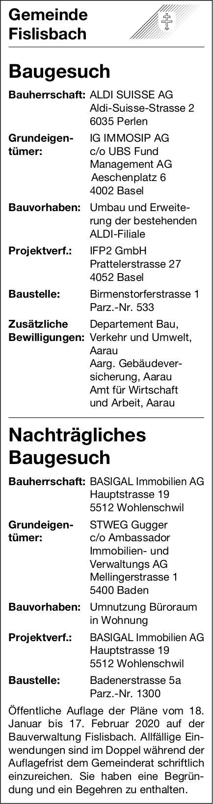 Fislisbach - Baugesuch / Nachträgliches Baugesuch