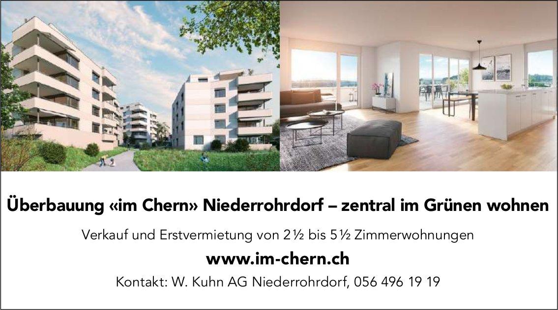 Verkauf und Erstvermietung von 2.5 bis 5.5 Zimmerwohnungen, Überbauung «im Chern» Niederrohrdorf