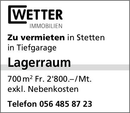 Lagerraum in Tiefgarage in Stetten zu vermieten