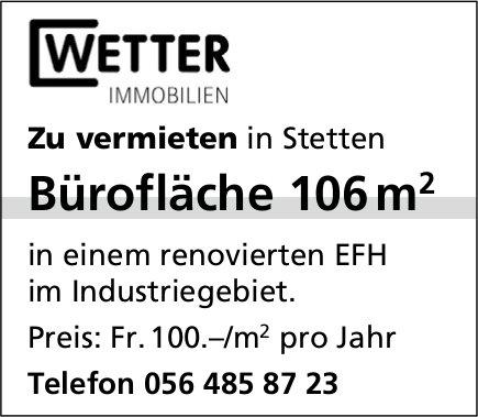 Bürofläche 106 m2 in Stetten zu vermieten