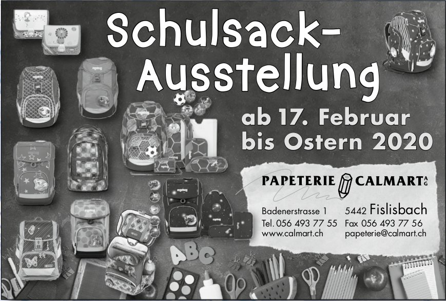 Papeterie Calmart AG - Schulsack-Ausstellung ab 17. Februar bis Ostern