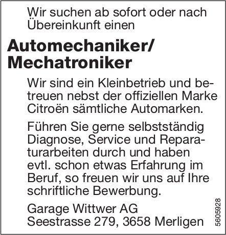 Automechaniker/ Mechatroniker bei der Garage Wittwer AG in Merligen gesucht