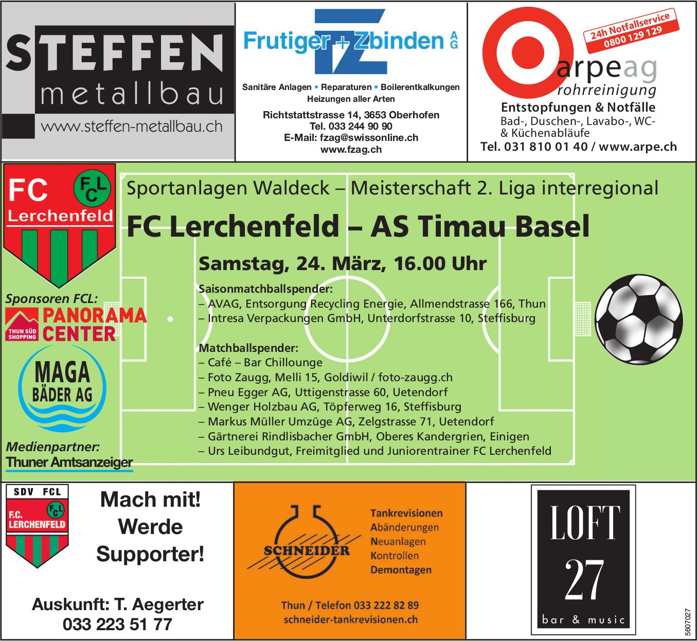 Meisterschaft 2. Liga interregional - FC Lerchenfeld vs. AS Timau Basel am 24. März