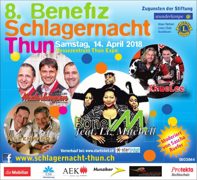8. Benefiz Schlagernacht Thun am 14. April