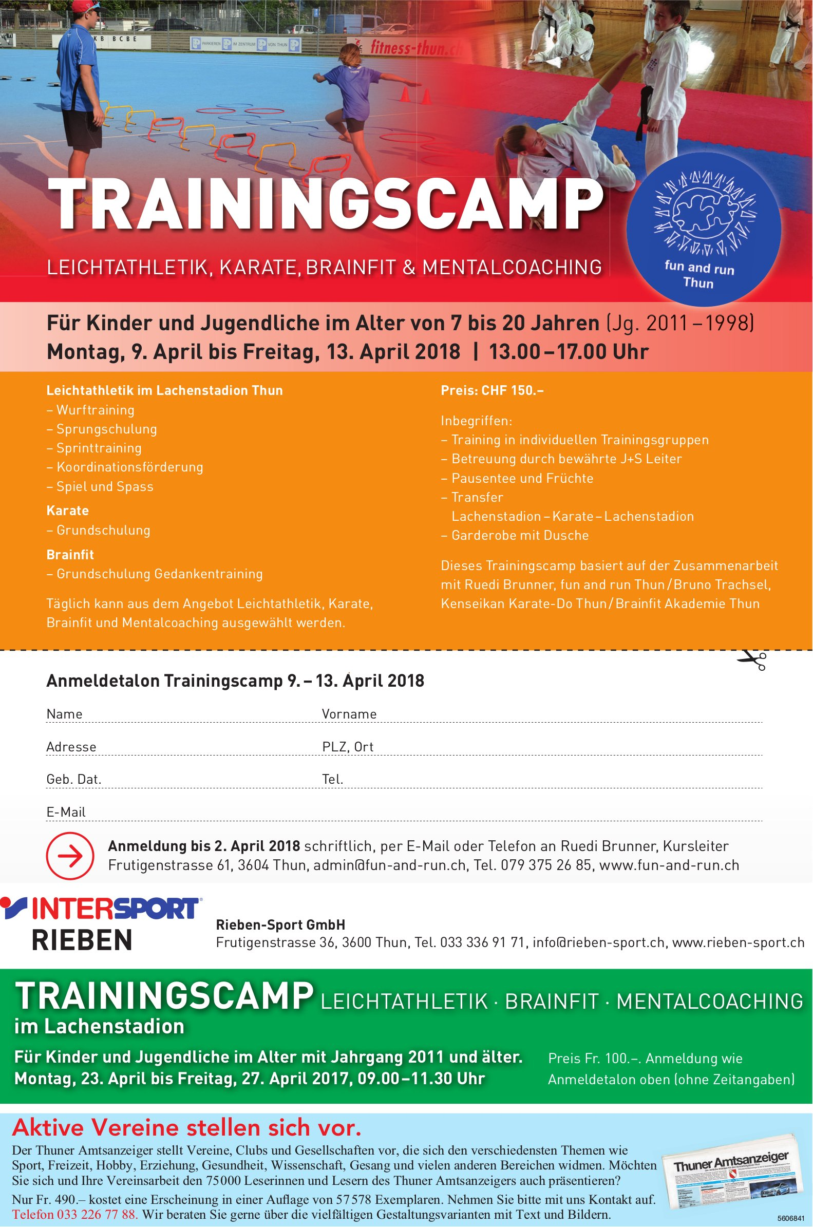 TRAININGSCAMP LEICHTATHLETIK · BRAINFIT · MENTALCOACHING im Lachenstadion, 9.-13. April