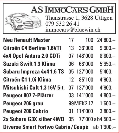 AS IMMOCARS GMBH - Occasionenmarkt
