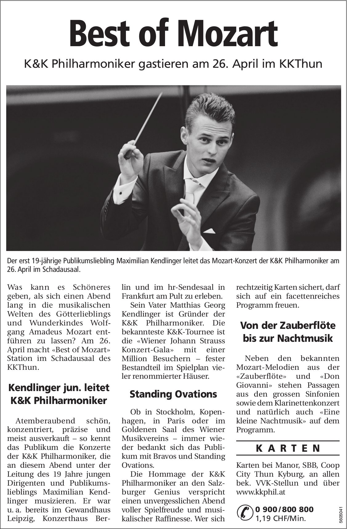 Best of Mozart - K&K Philharmoniker gastieren am 26. April im KKThun
