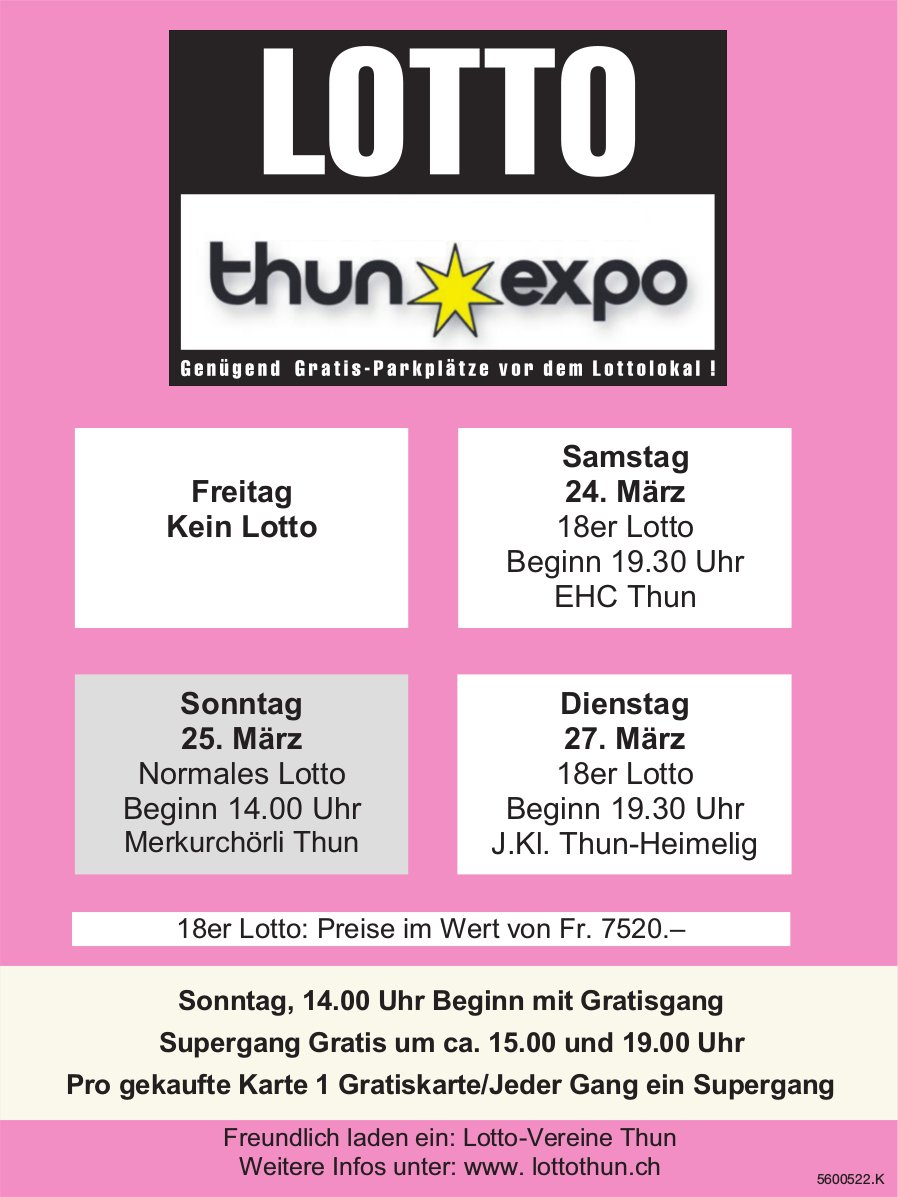 LOTTO Thun Expo - 24./25./27. März