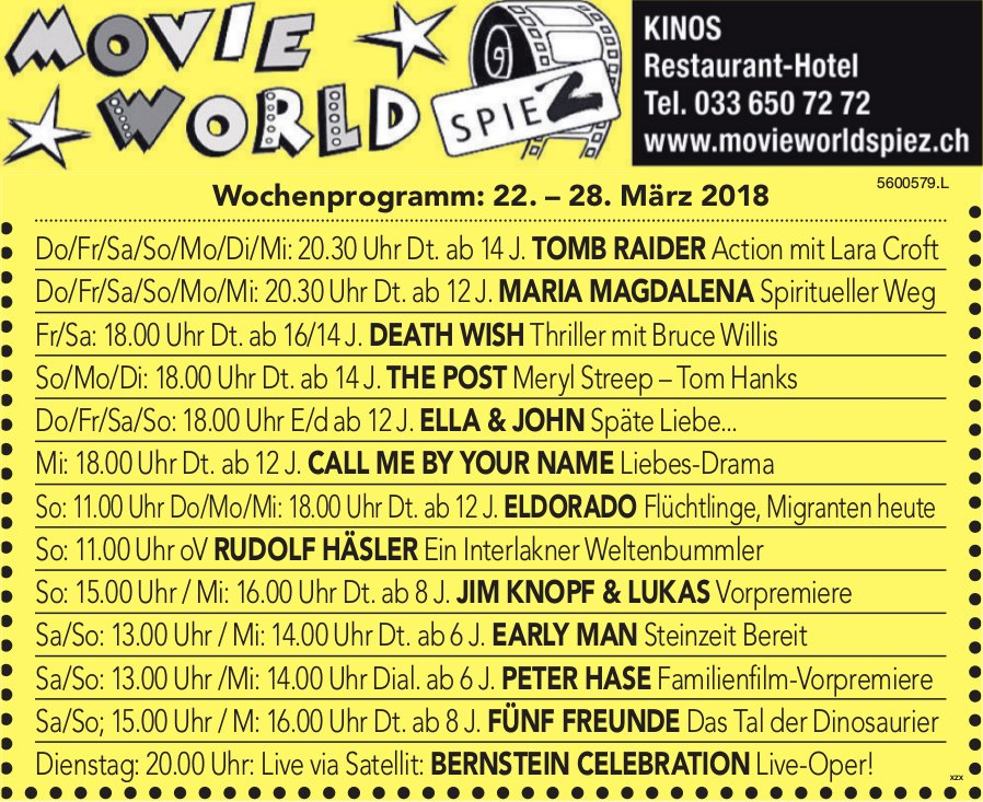 MOVIEWORLD SPIEZ KINO - Wochenprogramm, 22.-28.3.2018