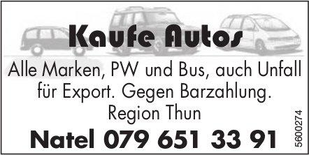 Kaufe Autos: Alle Marken, PW und Bus, auch Unfall für Export