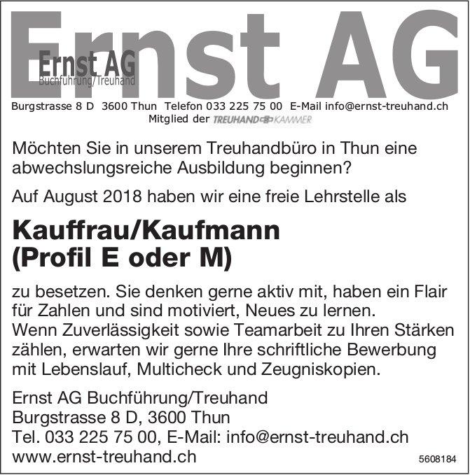 Lehrstelle Kauffrau/Kaufmann (Profil E oder M), Ernst AG Buchführung / Treuhand, Thun, zu vergeben