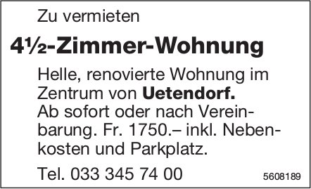 4½-Zimmer-Wohnung im Zentrum von Uetendorf zu vermieten
