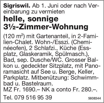 Helle, sonnige 3½-Zimmer-Wohnung in Sigriswil zu vermieten