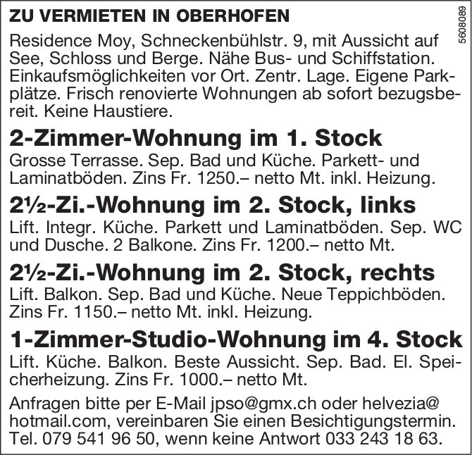 Frisch renovierte Wohnungen in Oberhofen zu vermieten