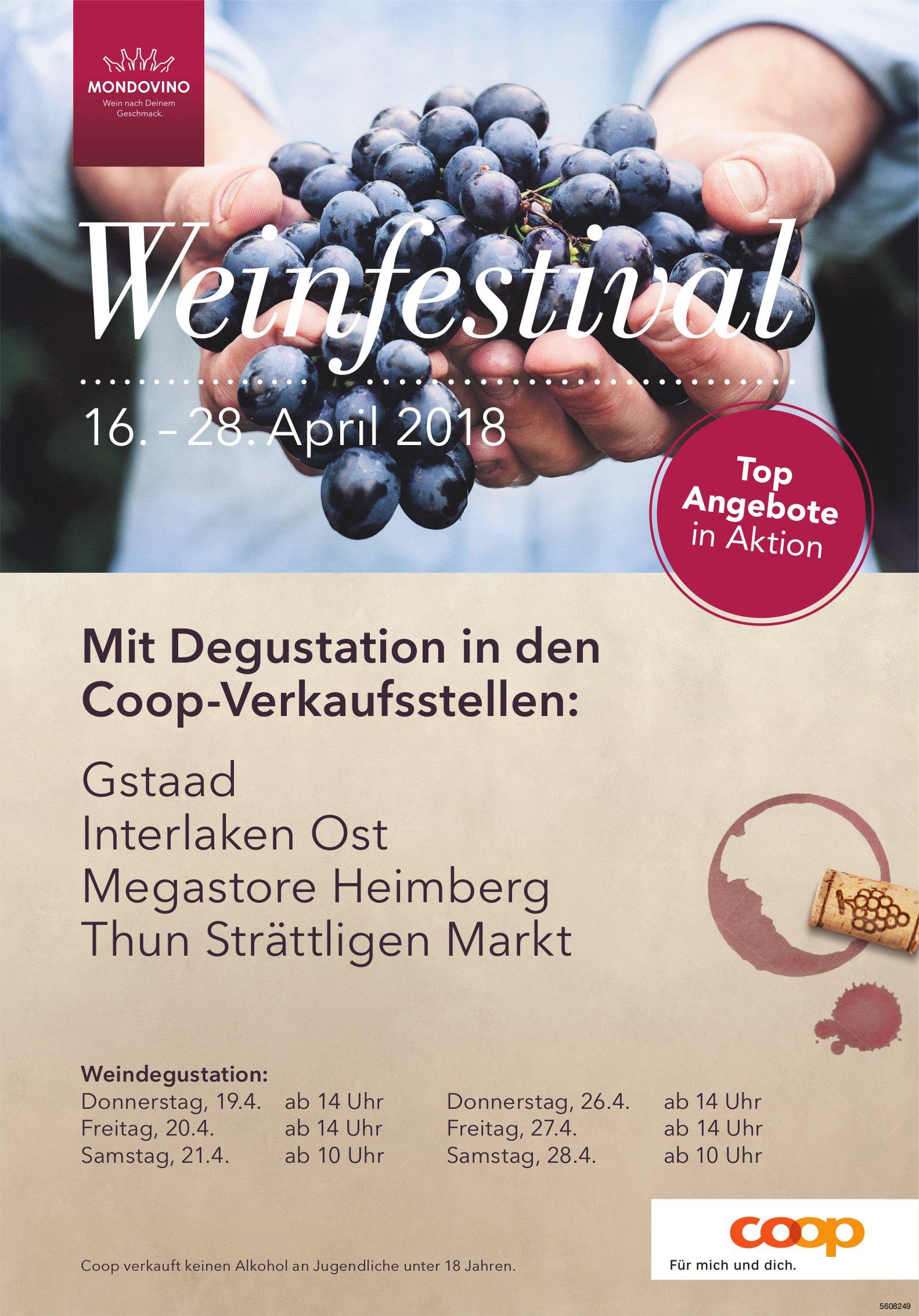 Weinfestival, 16. - 28. April, Coop-Verkaufsstellen...
