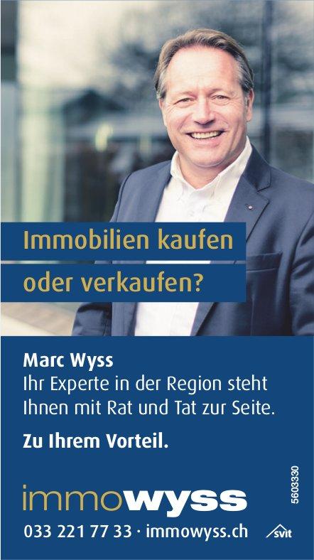 Immobilien kaufen oder verkaufen? Marc Wyss zu Ihrem Vorteil.