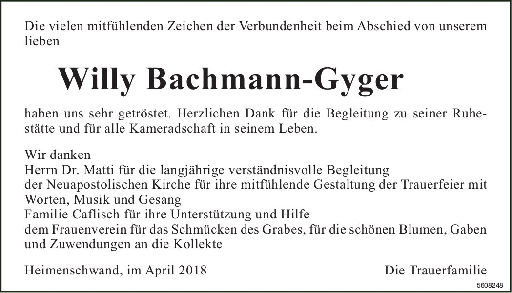 Bachmann-Gyger Willy, im April 2018 / DS
