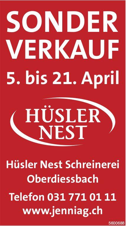 Sonderverkauf, 5. - 21. April, Hüsler Nest Schreinerei Oberdiessbach