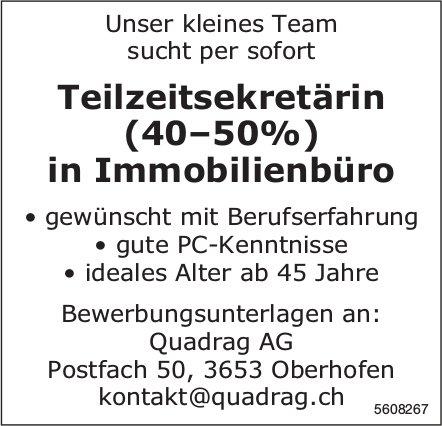 Teilzeitsekretärin, Quadrag AG, Oberhofen, gesucht