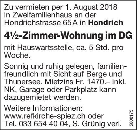 4½-Zimmer-Wohnung im DG in Hondrich zu vermieten