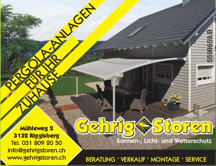 Gehrig Storen - Pergola-Anlagen für Ihr Zuhause
