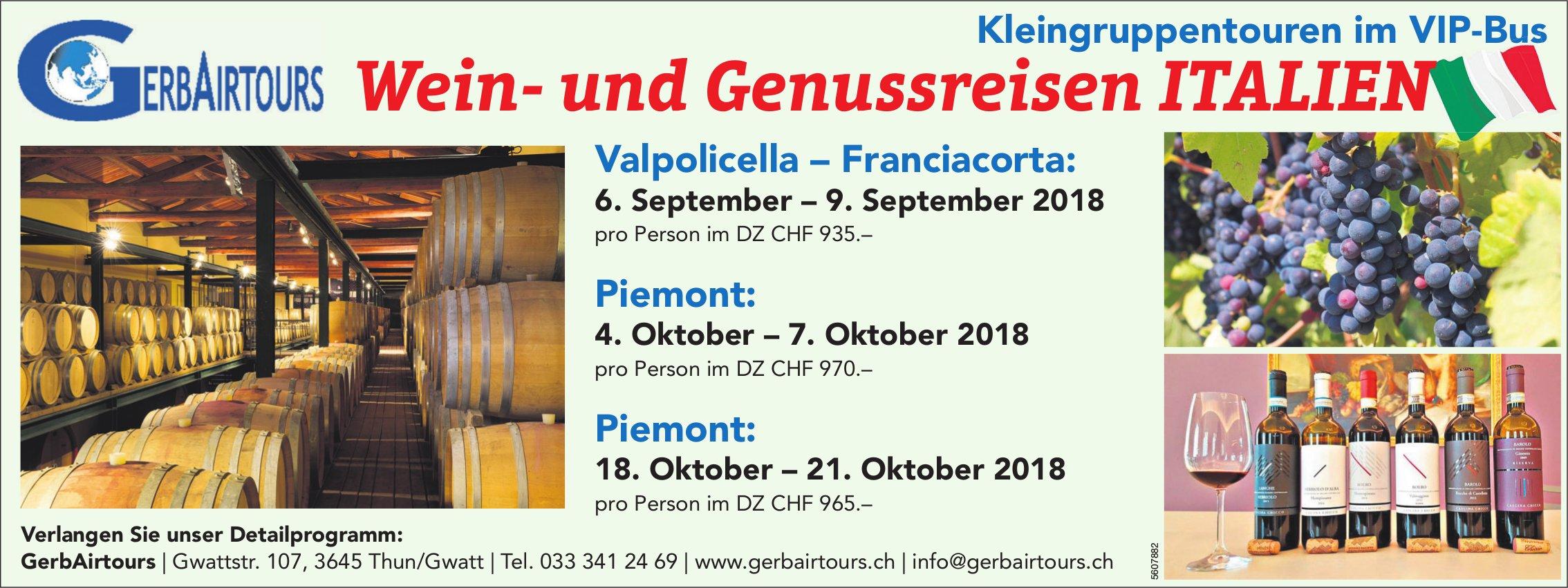 GerbAirtours, Thun/Gwatt - Wein- und Genussreisen ITALIEN