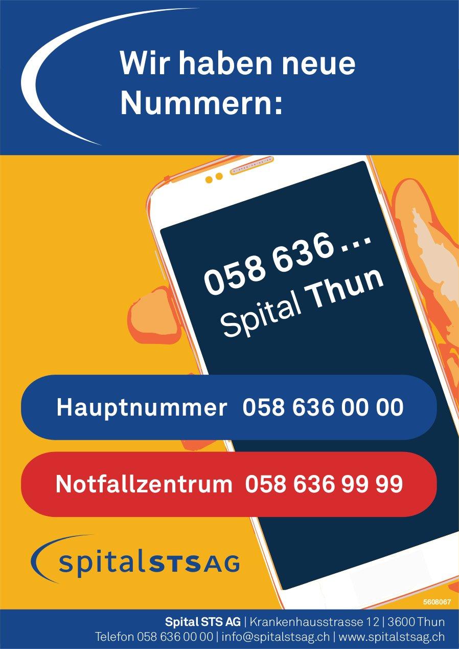 Spital Thun, Spital STS AG - Wir haben neue Nummern: