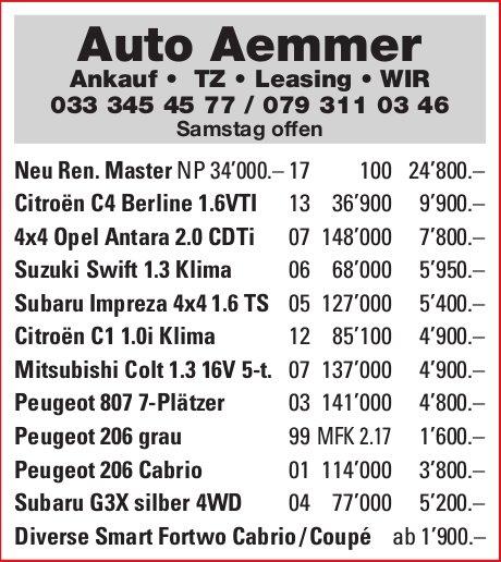 Auto Aemmer - Occasionen-Markt
