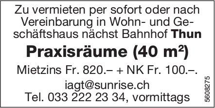 Praxisräume (40 m2) nächst Bahnhof Thun zu vermieten