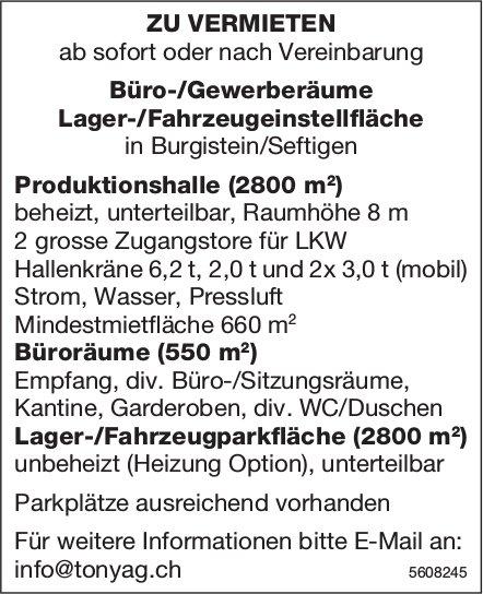 Büro-/Gewerberäume Lager-/Fahrzeugeinstellfläche in Burgistein/Seftigen zu vermieten