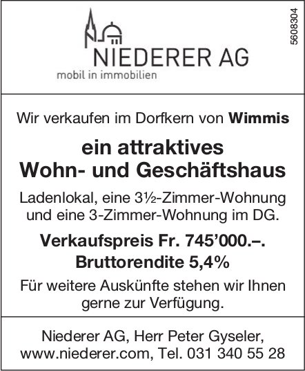 Attraktives Wohn- und Geschäftshaus im Dorfkern von Wimmis zu verkaufen