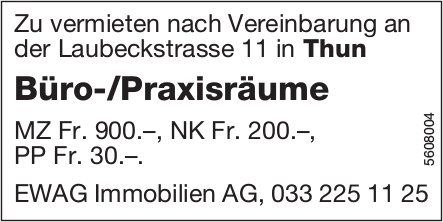 Büro-/Praxisräume in Thun zu vermieten