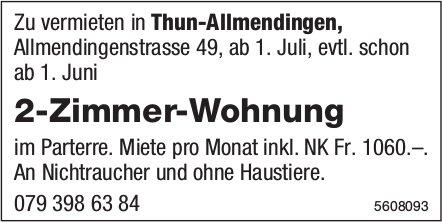 2-Zimmer-Wohnung in Thun-Allmendingen zu vermieten
