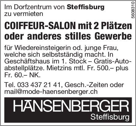 COIFFEUR-SALON mit 2 Plätzen im Dorfzentrum von Steffisburg zu vermieten