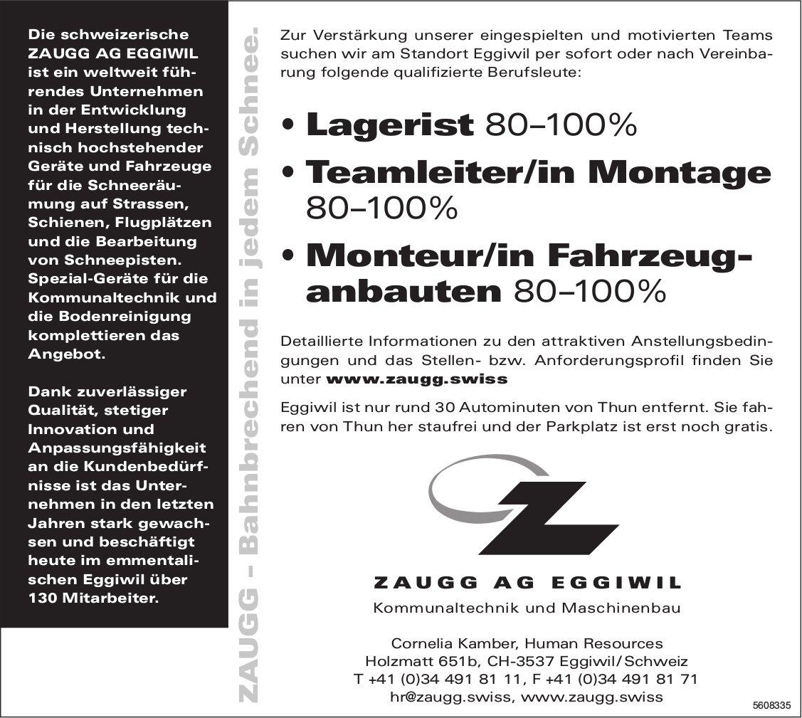 Lagerist, Teamleiter/in Montage, Monteur/in Fahrzeuganbauten, Zaugg AG Eggiwil, gesucht