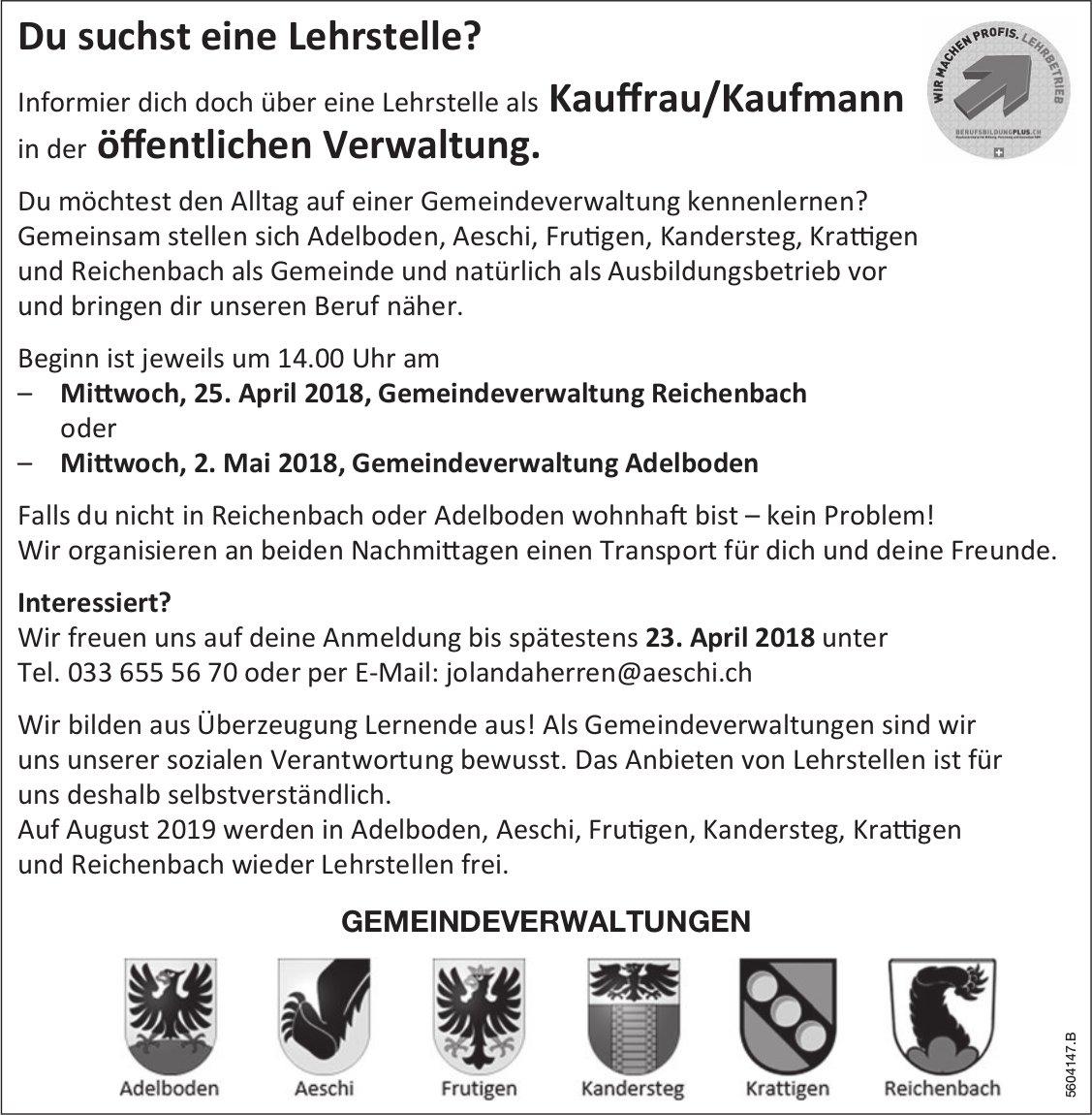 Infos überLehrstelle als Kauffrau/Kaufmann in der öffentlichen Verwaltung, 25.4./2.5.