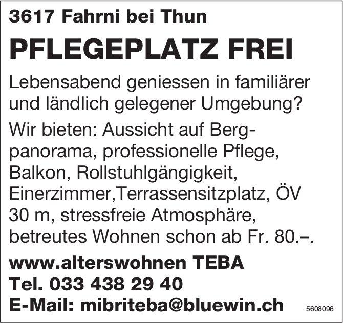 PFLEGEPLATZ FREI in 3617 Fahrni bei Thun