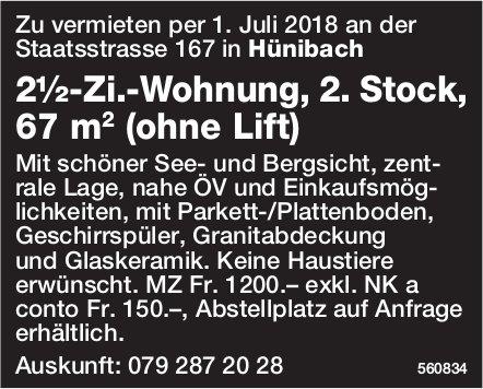2½-Zi.-Wohnung, 2. Stock, 67 m2 (ohne Lift) in Hünibach zu vermieten