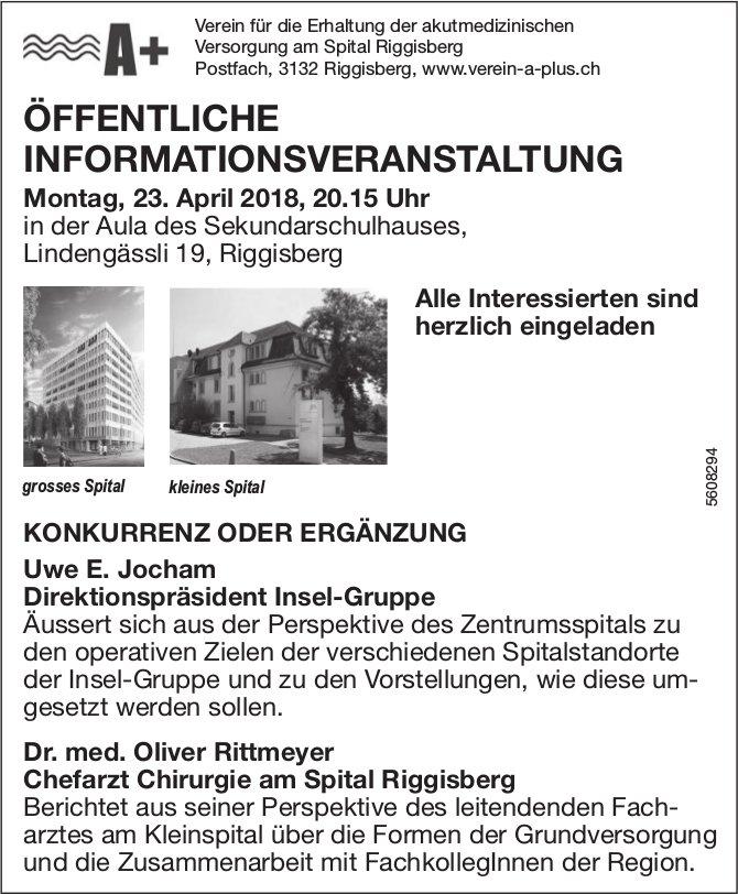 """ÖFFENTLICHE INFORMATIONSVERANSTALTUNG """"KONKURRENZ ODER ERGÄNZUNG"""" am 23. April"""