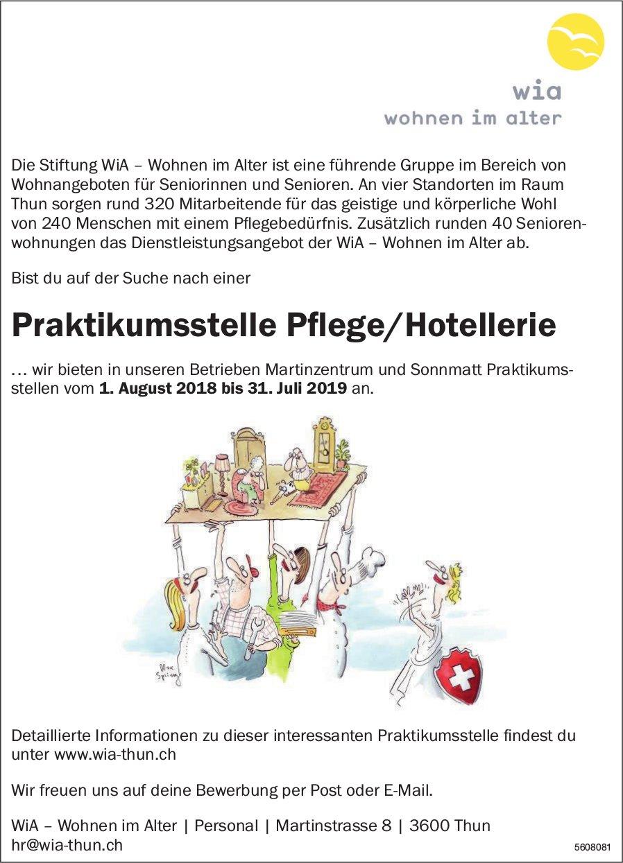 Praktikumsstelle Pflege/Hotellerie, WiA - Wohnen im Alter, Thun, zu vergeben
