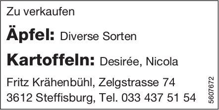 Äpfel und Kartoffeln zu verkaufen - Fritz Krähenbühl
